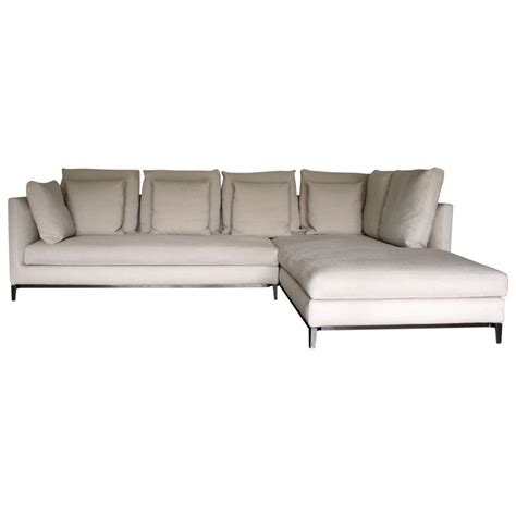 Slim Sectional Sofas Minotti Quot Andersen Slim 103 Quilt Quot L Shape Sofa By Dordoni In Quot Paco Quot Linen At 1stdibs