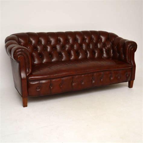 antique swedish leather chesterfield sofa marylebone