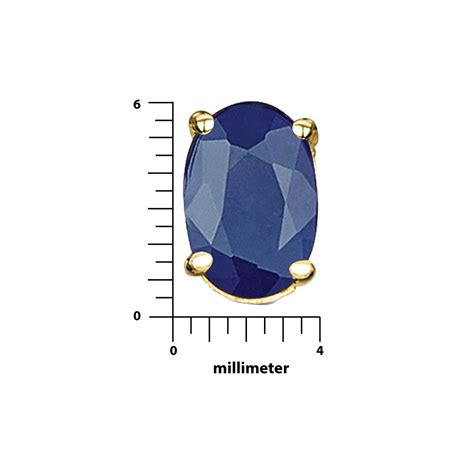 Blue Sapphire 6 9ct 9ct yellow gold blue sapphire claw set oval stud earrings