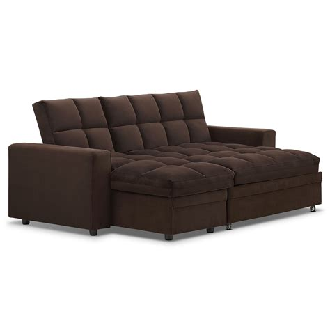 value city furniture sofa bed metro chaise sofa bed with storage brown value city