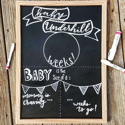 Weekly Pregnancy Sign Chalkboard Pregnancy Template Trimester Sign Gender Neutral Mommy To Pregnancy Announcement Template