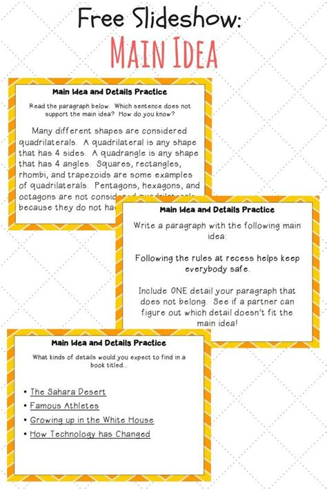 Main Idea Examples Free Slideshow Best Of Fourth Grade