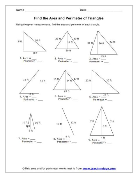 printable finding area worksheets best 25 perimeter of triangle ideas on pinterest
