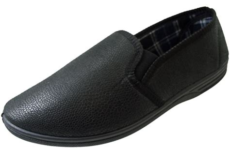 mens leather slippers with soles mens leather look soft gents black slip on slippers