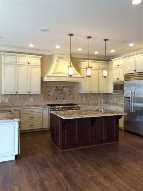 Kitchen Granite Island Glazed Antique White Perimeter Cabinetry Cherry Island Cabinets Bianco Antico Granite