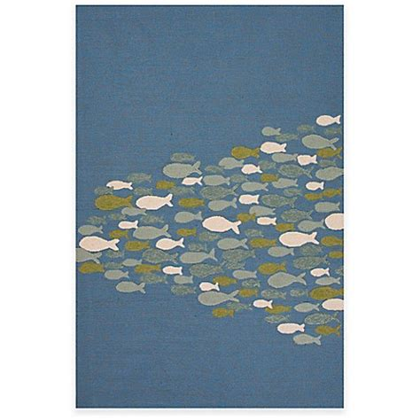 go outdoors rugs buy jaipur go fish 5 foot x 7 foot 6 inch indoor outdoor area rug in blue from bed bath beyond