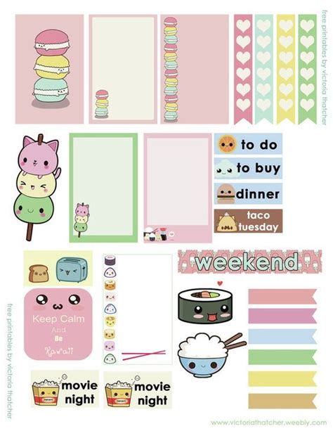Free Printable Kawaii Planner Stickers | free kawaii printable planner stickers scrapbook