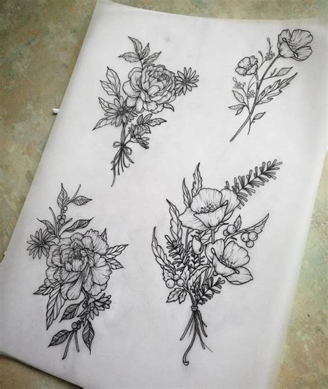 flower bouquet tattoo 25 best ideas about flower designs on