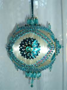 satin beaded christmas ornament kit turquoise garden by