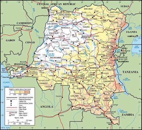 congo map large detailed physical and administrative map of congo democratic republic with all cities
