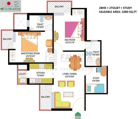 study room floor plan 2 bhk on sale in iitl nimbus hyde park at sector 78 noida favista