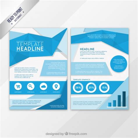 Blue Flyer Template Blue Origami Flyer Template Vector Free Download