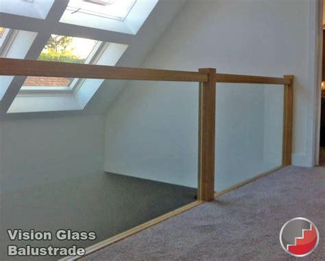 glass landing banister oak handrails grooved for glass balustrade