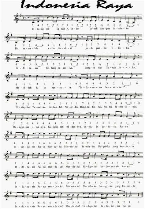 not angka pianika buku harian not angka lagu indonesia raya lagu kebangsaan negara
