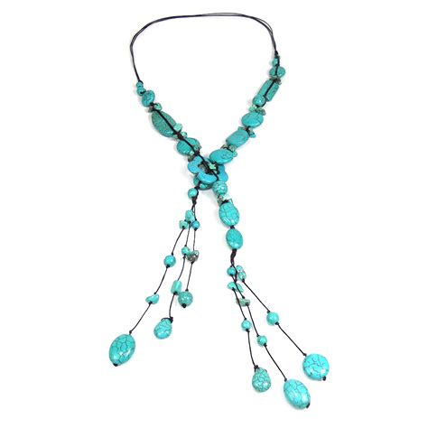 Handmade Turquoise Necklace - pretty handmade multi shape turquoise flower necklace
