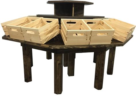 display table rustic wood retail store product display fixtures