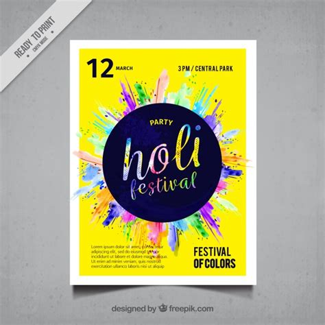 colorful posters colorful holi festival poster with blue circle vector