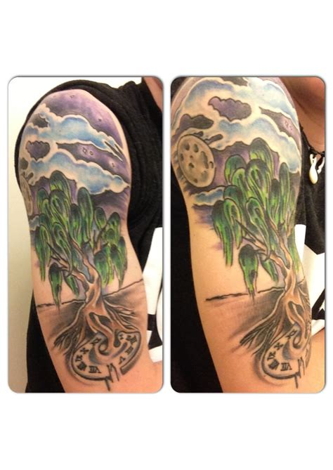 night time tattoo my favorite of mine half sleeve willow tree