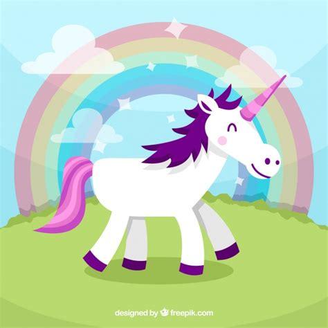fondo de unicornio feliz brillante descargar vectores gratis fondo de unicornio feliz en un paisaje descargar