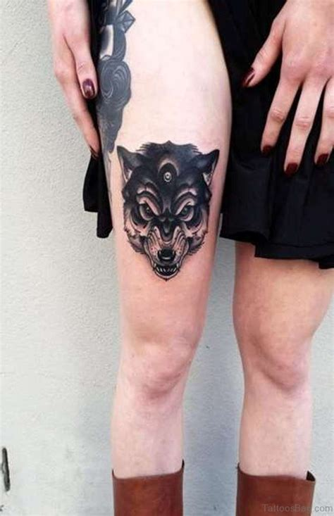 wolf thigh tattoo 41 marvelous wolf tattoos for leg