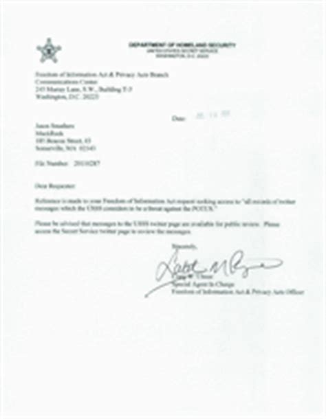Decline Cooperation Letter Obama Threats Via Usss