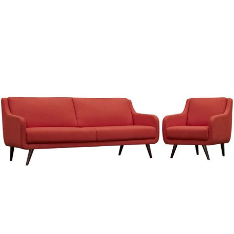 sofa armchair set verve mid century modern 2 pc upholstered sofa armchair set atomic red