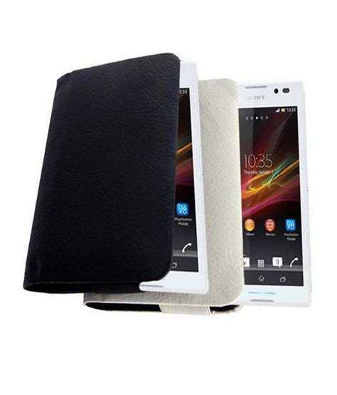 aara flip cover for sony xperia c s39h c2304 c2305 white