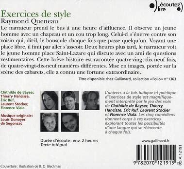 exercices de style 2070373630 livre exercices de style raymond queneau