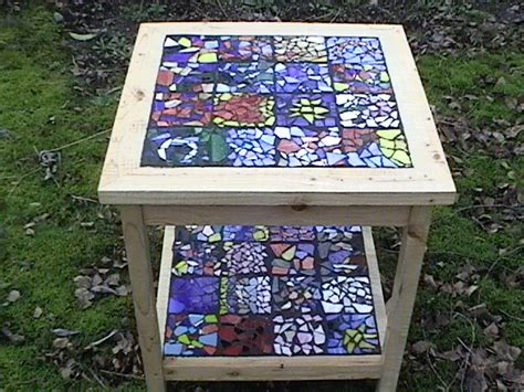 how to make a glass mosaic table top how to make a mosaic end table house photos