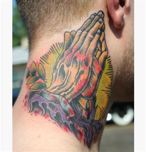 35 adorable praying hands neck tattoos