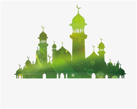 design masjid photoshop mosque silhouette green mosque temple png and vector
