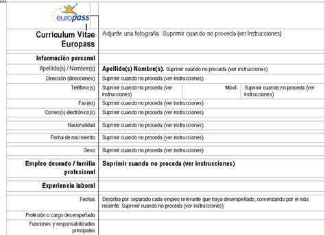 Formato Europeo Curriculum Vitae Spagnolo Curriculum Vitae Spagnolo Modello Tecnologia E Societ 224