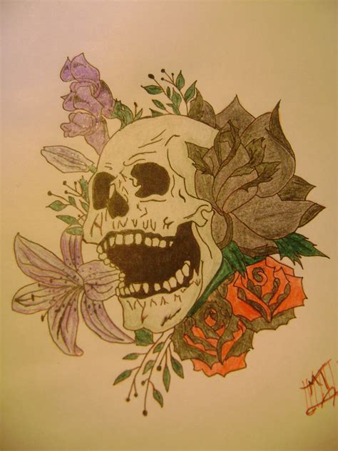 skull with flowers tattoo 1000 images about designs on skulls