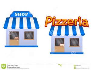 House Awning Design Cartoon Store And Pizzeria Icons Stock Vector Image