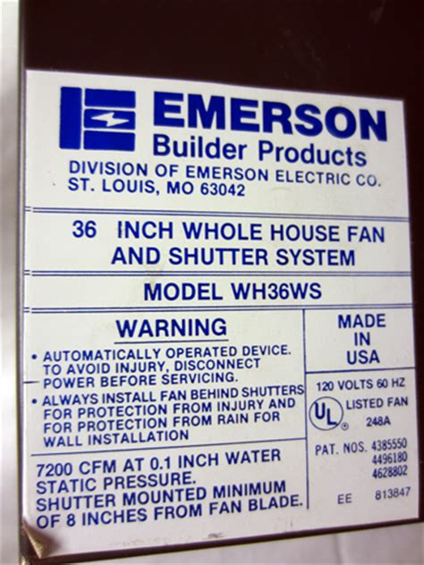 36 whole house fan emerson 36 quot whole house fan and shutter system local