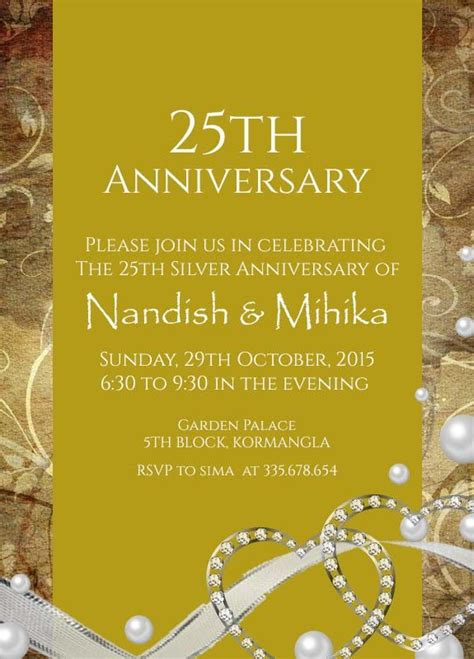 Wedding Anniversary Invitation Cards India by 22 Best 25th Silver Wedding Anniversary Invitation