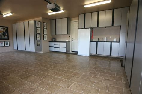 Garage Floor Design Ideas by Spacious Interior Of Garage And Shed Applied