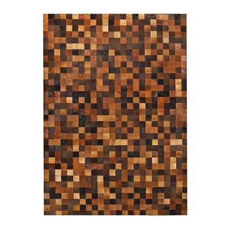 Patchwork Cowhide - patchwork cowhide brown leather carpet rug handmade by
