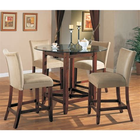 Counter Top Dining Table Sets Soho Counter Height 5 Dining Set In Cherry Finish With Glass Table Top By Coaster