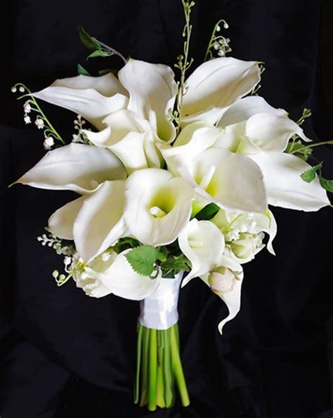 natural touch silk calla lily wedding bouquet