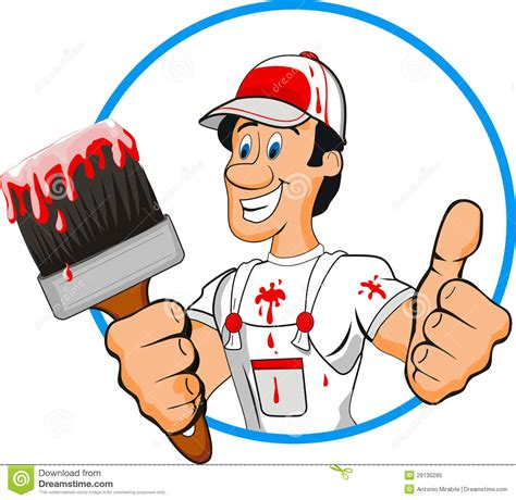 find a house painter cartoon house painter logo stock images image 18336494
