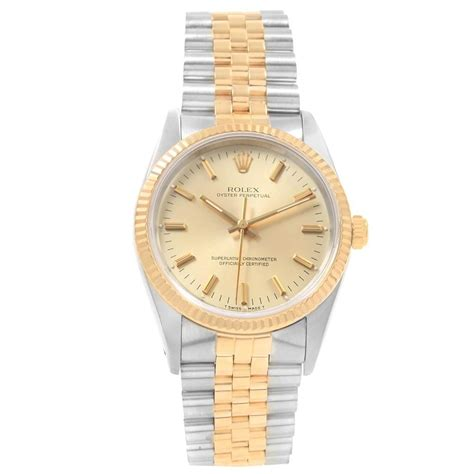rolex oyster perpetual nondate steel  yellow gold mens