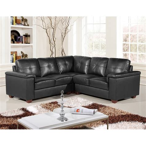 Windsor 5 Seater Black Leather Pocket Sprung Corner Sofa Group