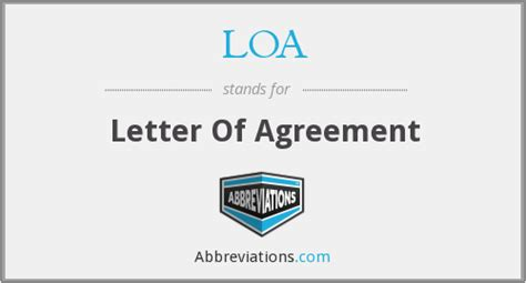 Letter Of Agreement Loa Loa Letter Of Agreement
