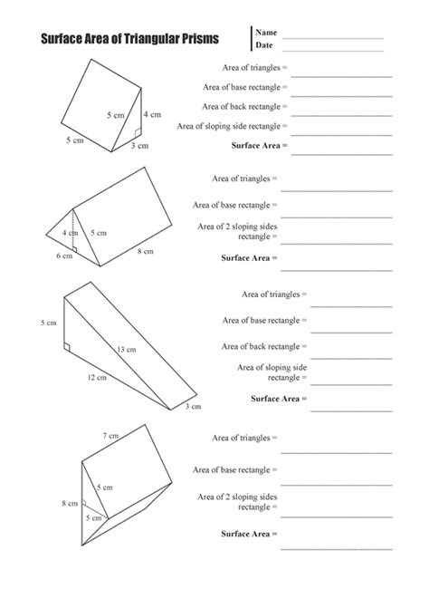 Surface Area Of Triangular Prism Worksheet by Surface Area Of Triangular Prisms Mathsfaculty