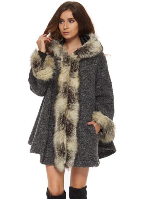 faux fur swing coats monton grey swing coat grey faux fur coat