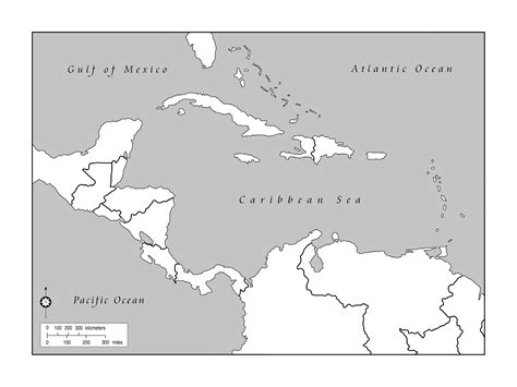 Outline Map Of America And Caribbean maps of the americas page 2