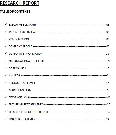 research report table of contents template free report
