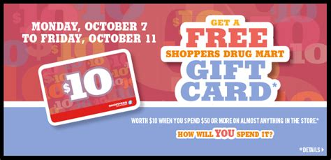 Shoppers Drug Mart Gift Cards - shoppers drug mart canada offers get a free 10 gift card when you spend 50