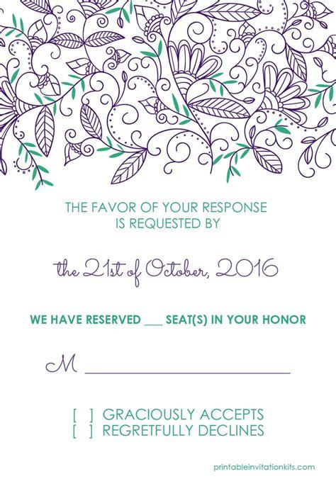 wedding invitation pdf template free pdf templates modern nature border rsvp template